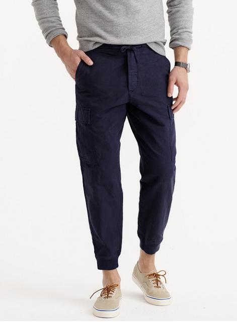 Historic Navy Blue Cotton/Linen Cargo Jogger Pant