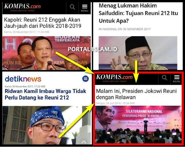 Kenapa Reuni 212 Dipermasalahkan, Sedang Reuni Relawan Jokowi tak Dipersoalkan?