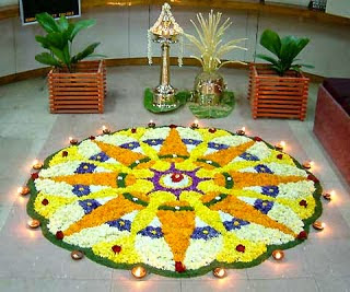 onam pookalam with the theme