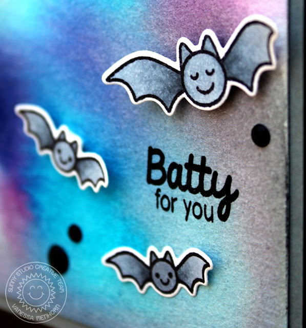 Sunny Studio Stamps: Halloween Cuties Batty For You Bat Card by Vanessa Menhorn.