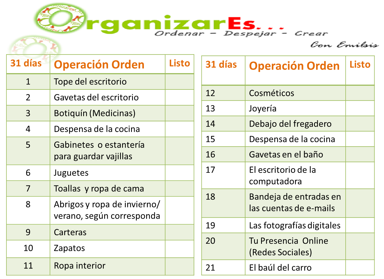 Organizar es operaci n orden - Limpieza de una casa ...
