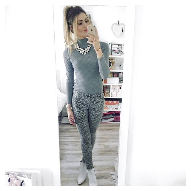topshop grey outfit white boots