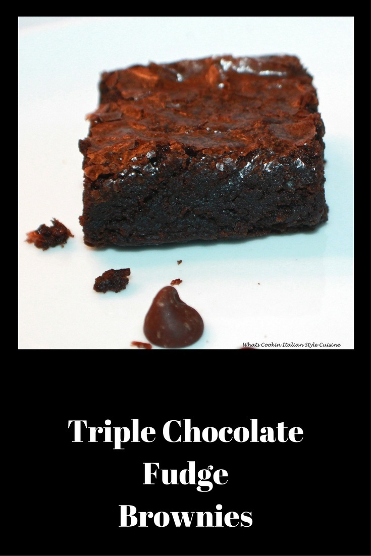 these are a decadent  Triple chocolate brownie with chocolate chips and ganache frosting