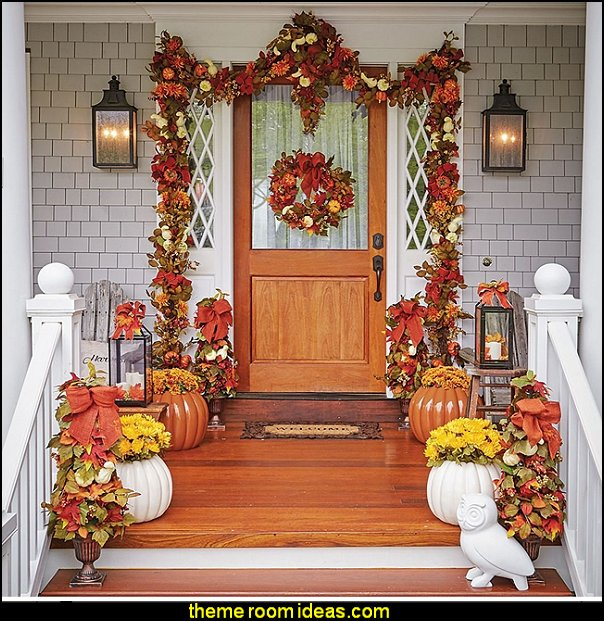 Decorate for fall   autumn fall themed bedroom decorating seasonal decor -  Autumn Fall Thanksgiving Harvest Decor  - fall themed bedding - fall bedroom decor - rustic decorating for thanksgiving  - Autumn colors decorate for fall  -