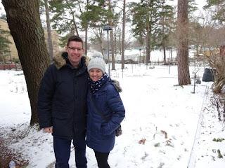 Richard and Emily Gottfried at Golfbaren Aspudden minigolf course in Sweden