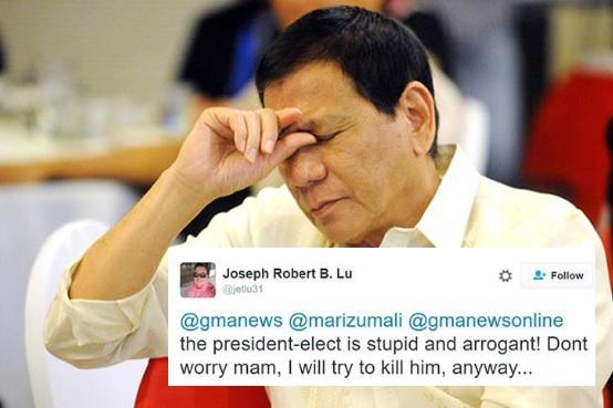 Duterte gets death threat from netizen for catcalling reporter