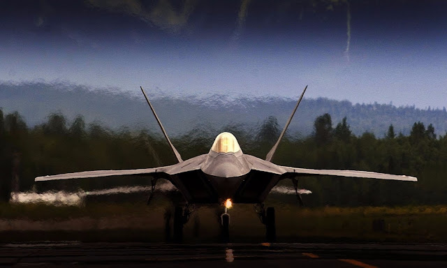 F-22 Raptor Lined Up Takeoff At Langley