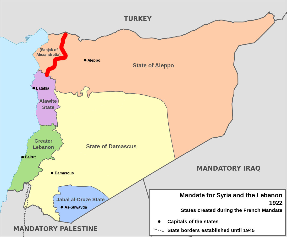 the disagreement is the result of a treaty between turkey and france the league of nations mandatory power for what are now the countries of syria and