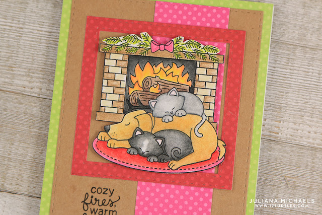 Friends Card by Juliana Michaels featuring Newton's Nook Fireside Friends Stamp Set. Colored with Prismacolor Colored Pencils.