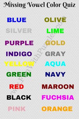 Missing Vowels Colors Quiz Answers