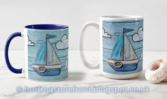 Photograph of mugs in Driftwood Beach design