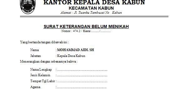 Contoh Surat Keterangan Belum Menikah