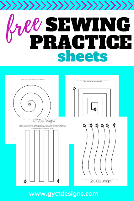 Learn to how to thread a sewing machine and bobbin and practice tips. Print these simple PDF sewing practice sheets to get you started sewing. #sewingpractice #sewing #sewingmachine #sewing101 #pdfpattern #printable