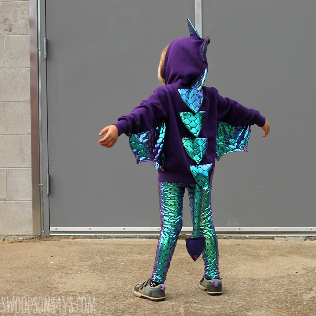 Learn how to make a dragon wings costume for Halloween. Tutorial by Swoodson Says