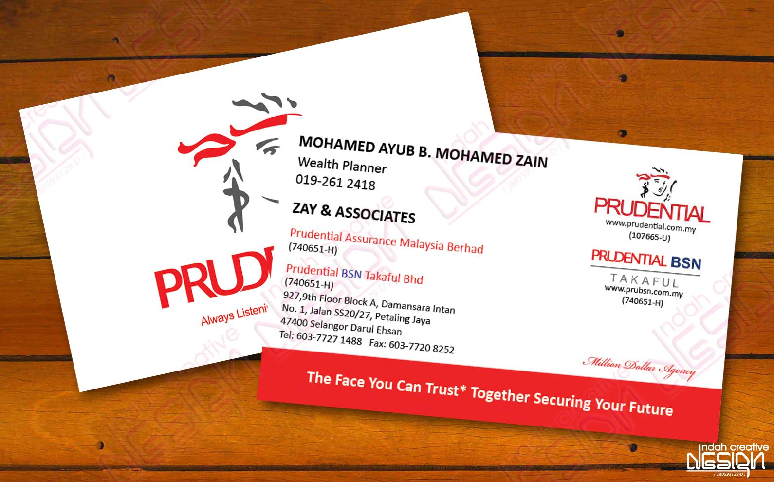 indah creative design name card prudential