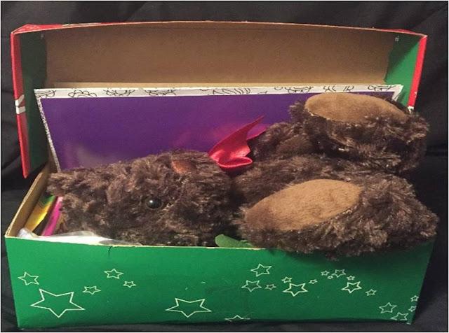 Fitting large stuffed animal into an Operation Christmas Child shoebox.