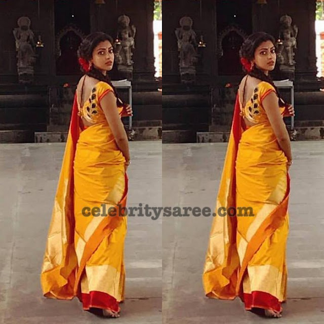 Amala Paul Yellow Silk Saree