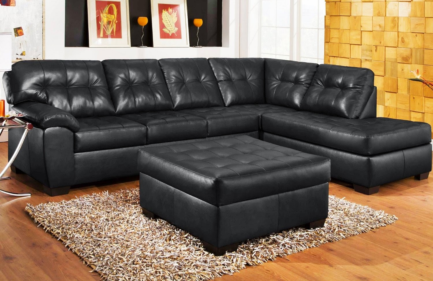 Delicieux 3 Piece Bonded Leather Sectional Sofa With Chaise And Ottoman
