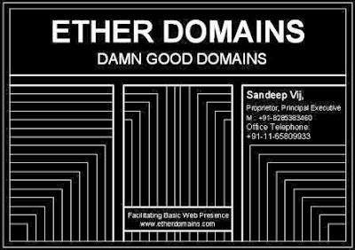 Visiting Card of Ether Domains, the Handles of the Project.
