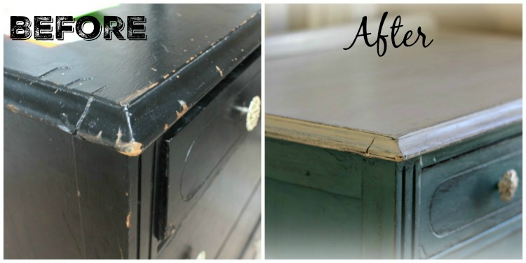 Before and after. Damage on dresser repaired.