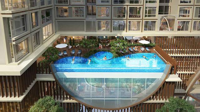 Bể bơi sang trọng được thiết kế tại tầng cao để có những góc view đẹp