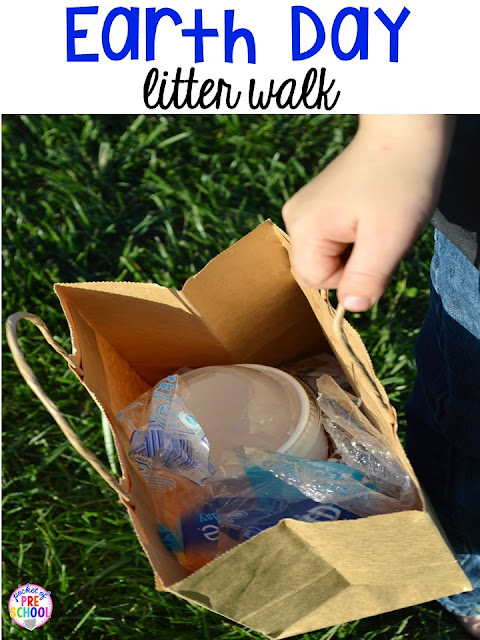 Earth Day litter walk. Plus FREE Earth Day vocabulary posters! Perfect for preschool, pre-k, or kindergarten.