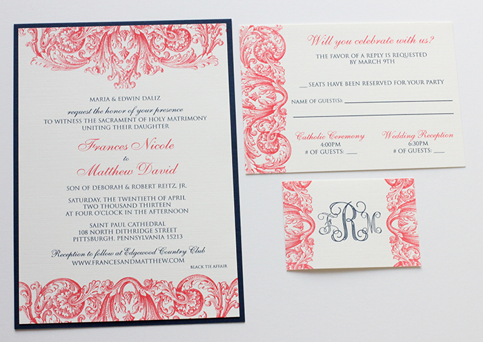 Blue And Coral Wedding Invitations: Blush Paperie: Coral & Navy Wedding Invitations