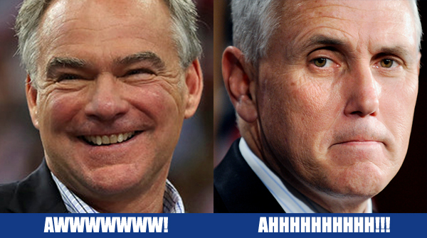 juxtaposed images of Time Kaine and Mike Pence: On the left, Kaine smiling, labeled AWWWWWWWW; on the right, Pence scowling, labeled AHHHHHHHH!