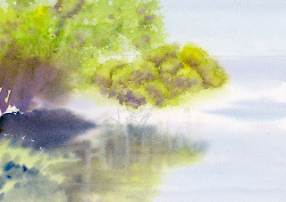 湖上の木 水彩 The tree on the lake. Step3