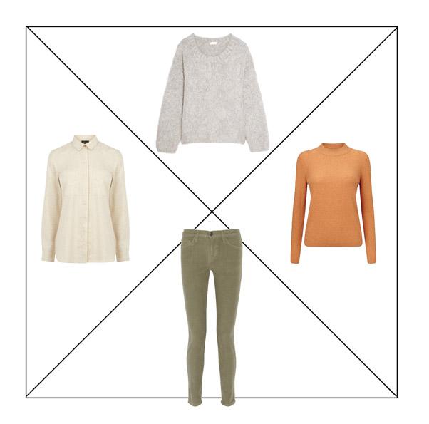 Джинсы цвета хаки, белая рубашка, оранжевая водолазка, серый свитер для капсульного гардероба в повседневном стиле Casual