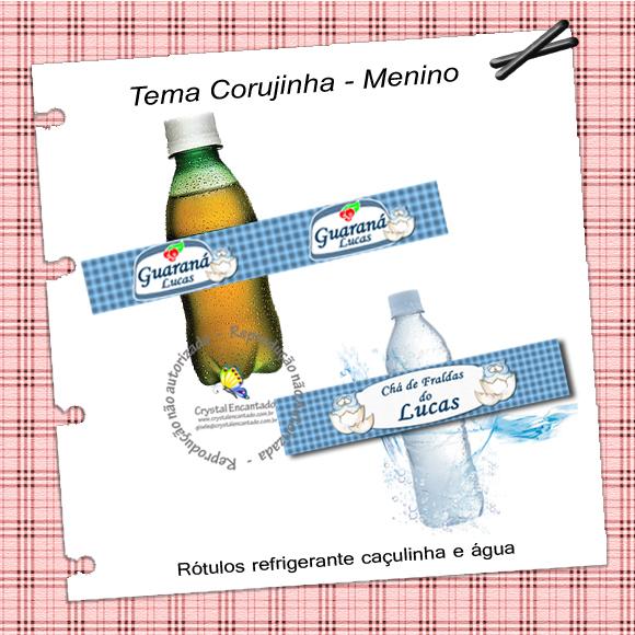 Adesivos para personalizar garrafa de água e refrigerante caçulinha no tema corujas