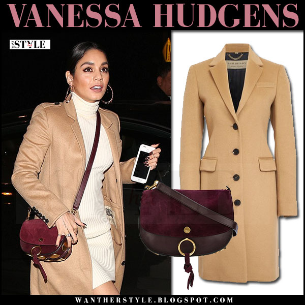 Vanessa Hudgens in camel coat burberry sidlesham with burgundy shoulder bag chloe kurtis what she wore