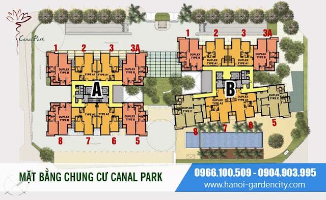 Mặt bằng chung cư Canal Park Long Biên