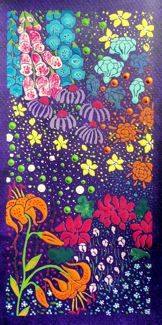 Flowers in gouache on purple  background