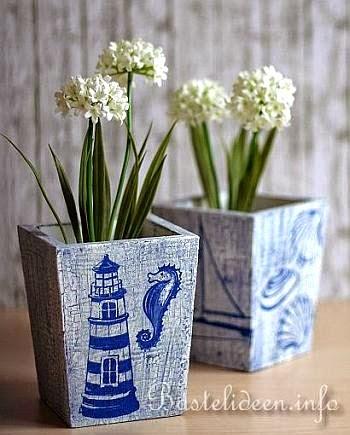 decoupaged flower pots