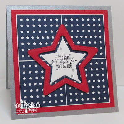 ODBD Let Freedom Ring, ODBD Custom USA Flag Die, ODBD Custom Double Stitched Stars Dies, ODBD Custom Sparkling Stars Dies, Card Designer Angie Crockett
