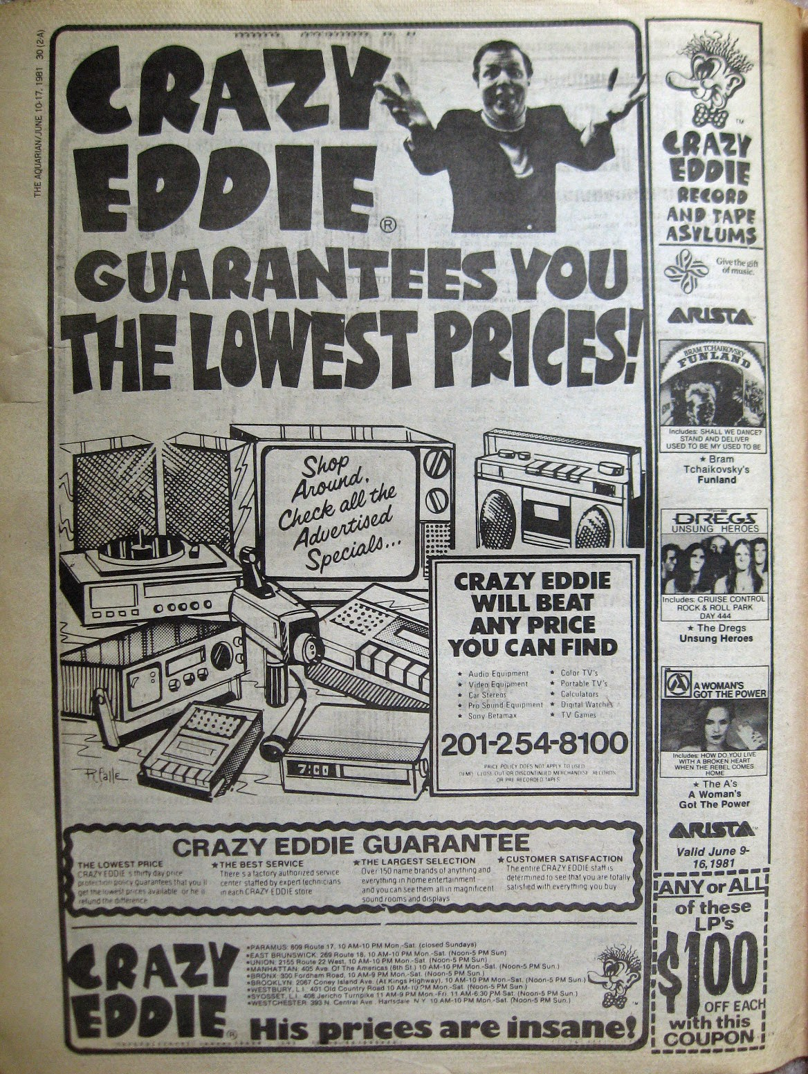 Crazy Eddie ad from the Aquarian Night Owl June 1981