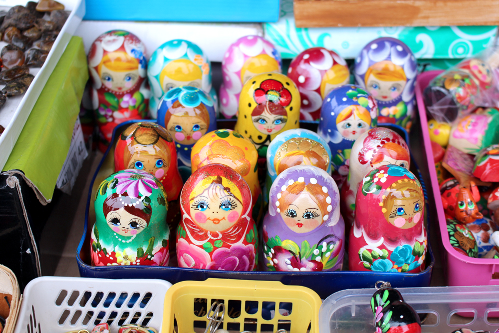 Russian dolls at the Bazar na Kole market in Warsaw - luxury travel blog