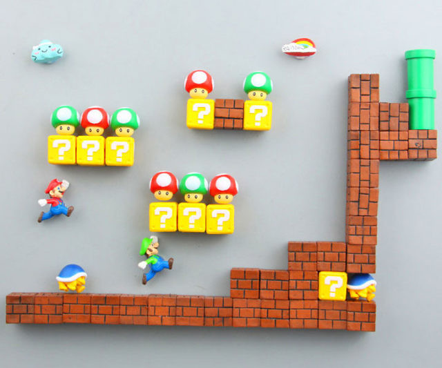 Add some color and life to your dull fridge using these vibrant Super Mario refrigerator magnets. Each .75 x .75 inch magnet is modeled after iconic characters, bad guys, and props from the Super Mario universe so that you can create your own custom levels.
