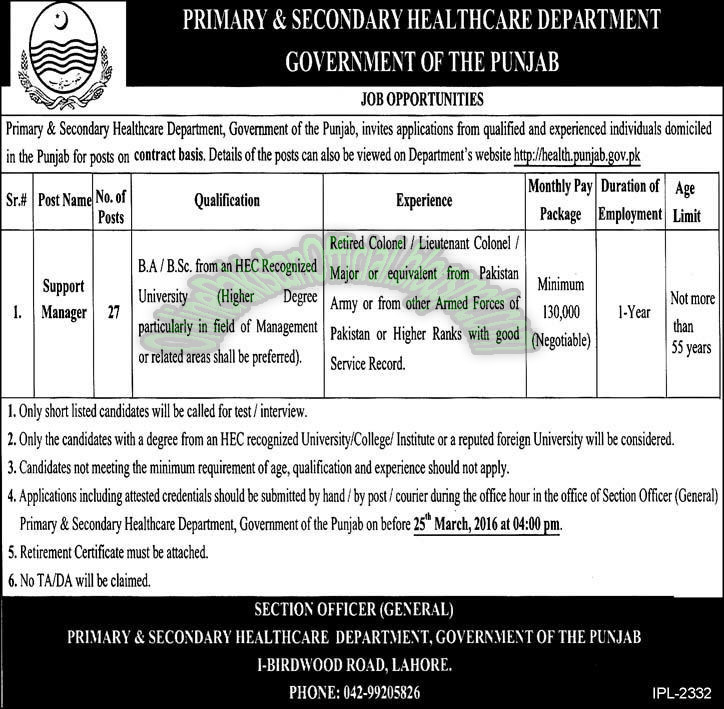 Secondary Health Care jobs in lahore 2016