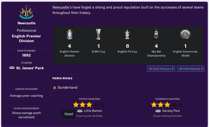 FM19 Newcastle United History