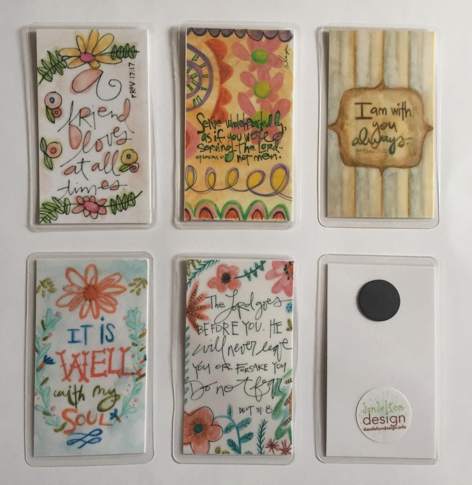 dandelion design small magnets $2 business card size min order