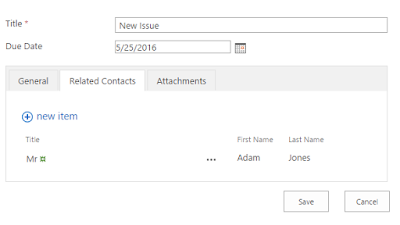 New SharePoint form with an attached item