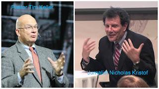 Pastor Tim Keller şi jurnalismul Nicolas Kristof, fotografii preluate de pe google images, colajul este efectuat de mine