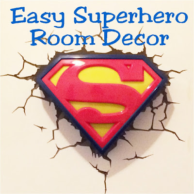 Easily decorate your superhero room with these Superhero printables and night light.  Night light is the 3D FX Superman light and is so easy to put it up, you'll feel like a villian who cheated when decorating your child's bedroom.