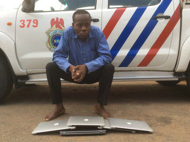 Pastor nabbed during Sunday fellowship after stealing Apple laptops at GRA, Ikeja