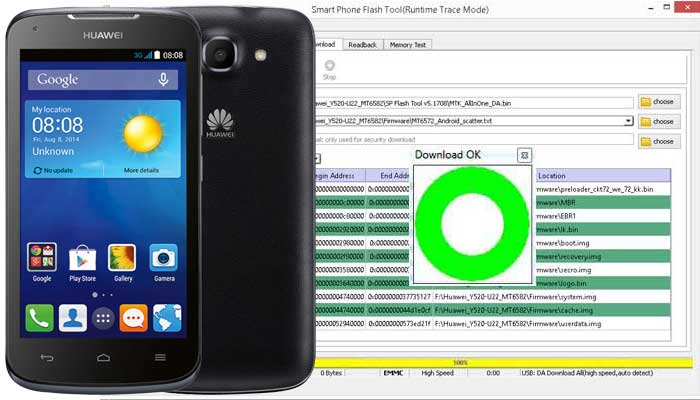 Cara Flash Huawei Ascend Y520-U22 via SP Flashtool