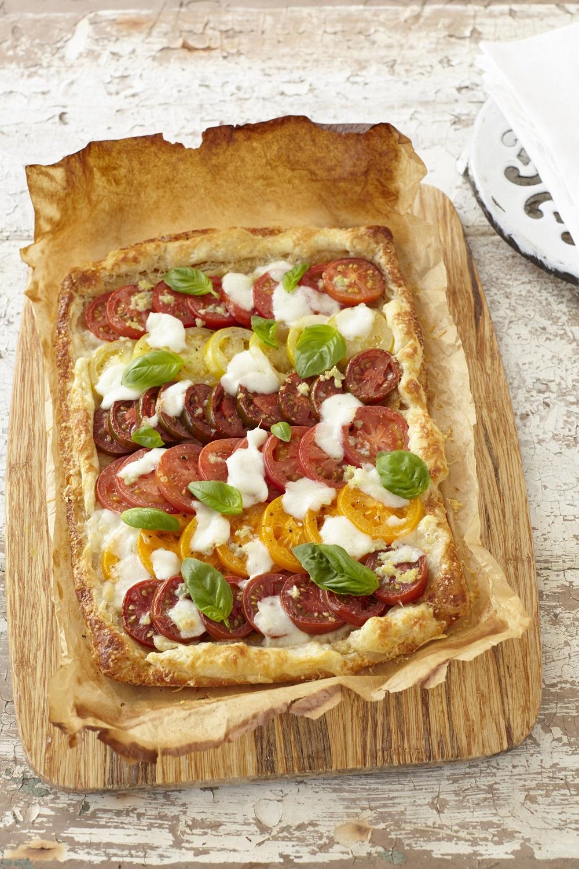 Tomato, Mozzarella And Basil Puff Pastry Tart