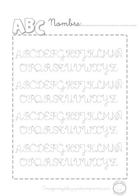 Caligrafia de abecedario para imprimir