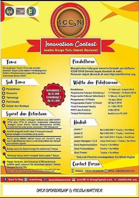 Lomba Karya Tulis Ilmiah Innovation Contest (ICON) 2018 Univ. Negeri Yogyakarta